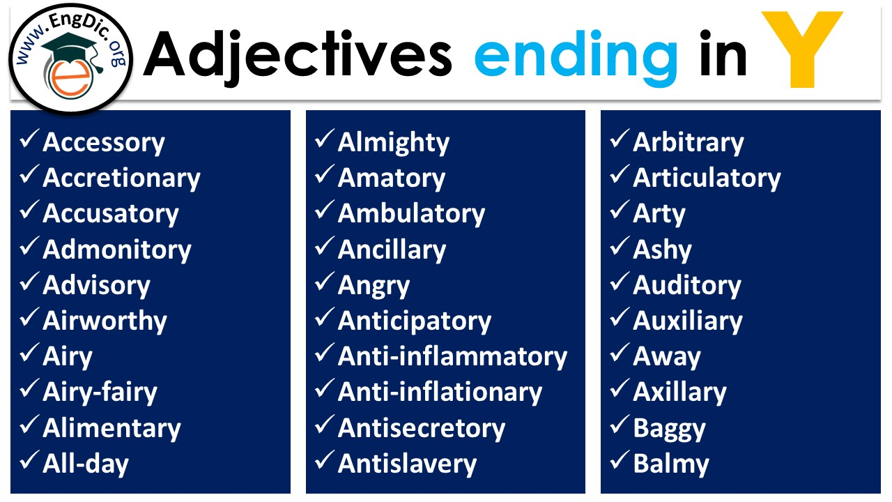 adjectives ending in y