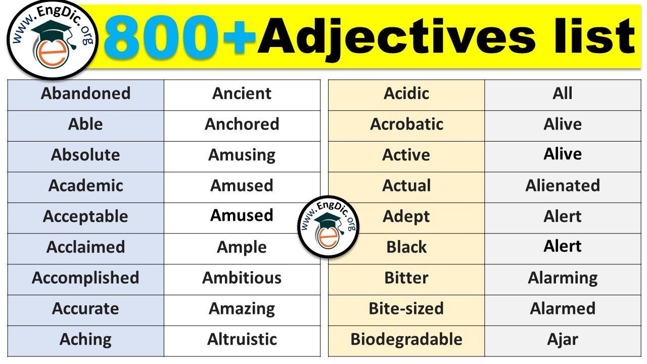 adjectives list
