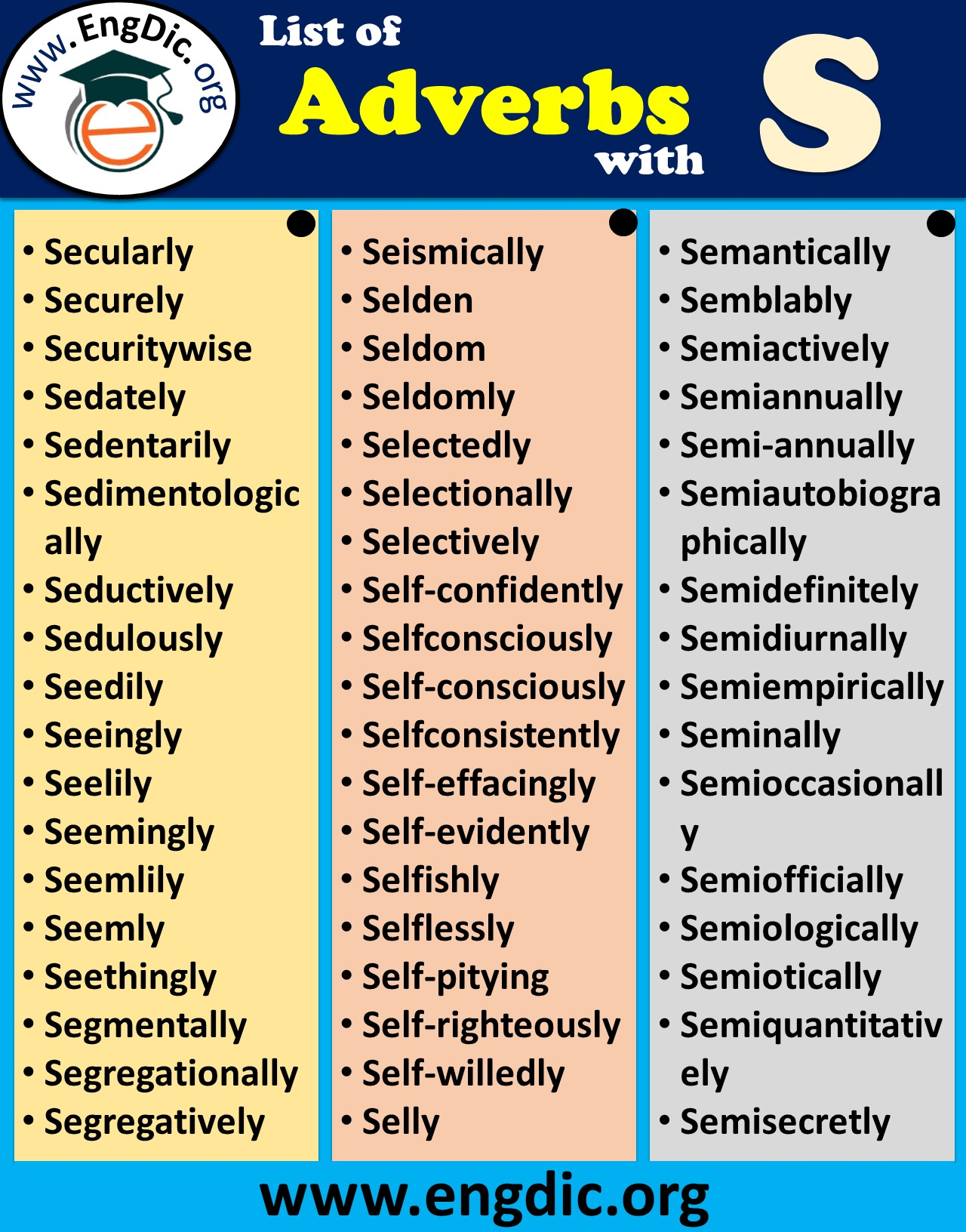 adverbs that starts with s