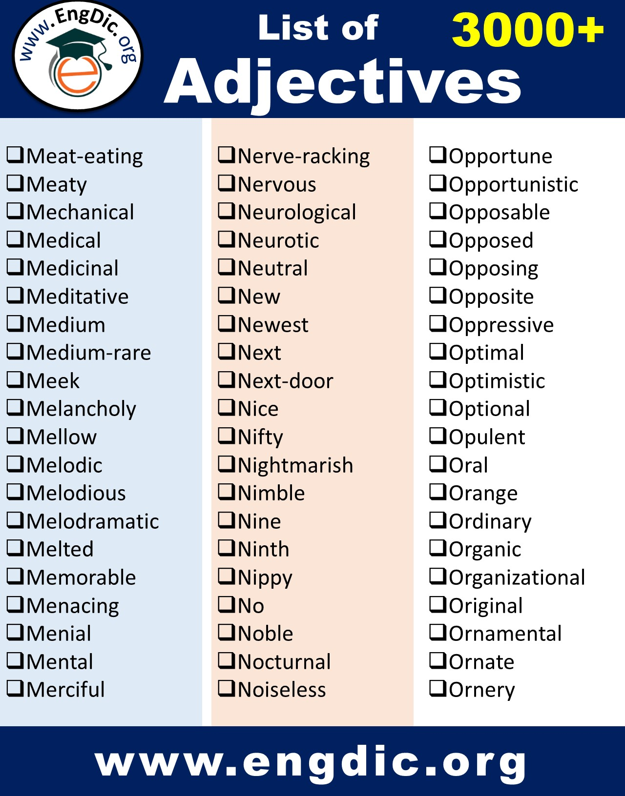 college level adjectives