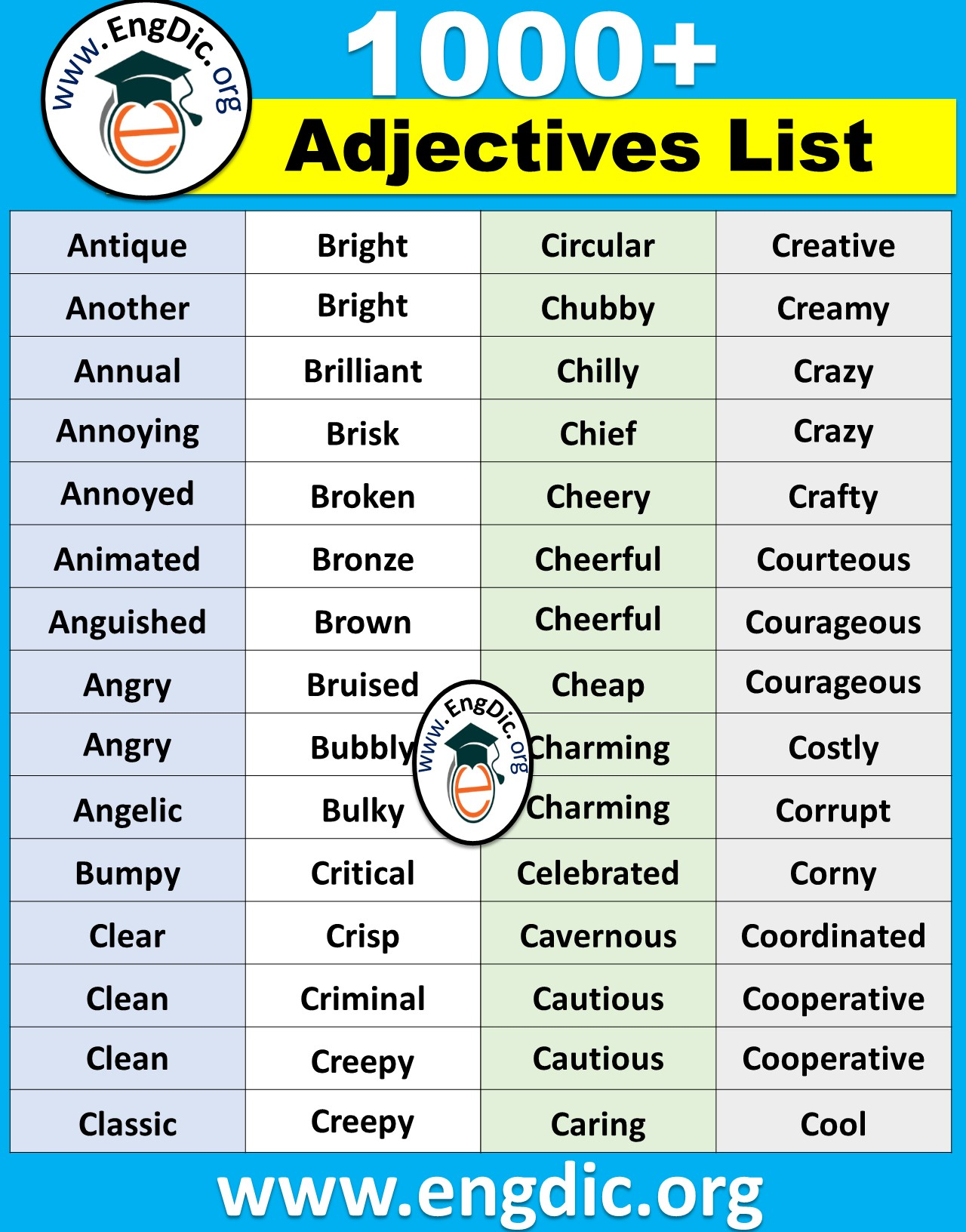 compound adjectives list, one syllable adjectives list