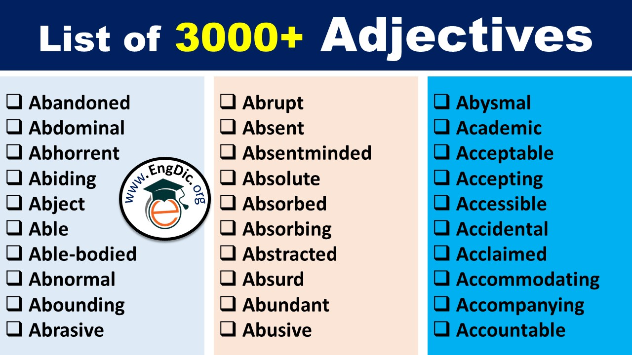 list of adjectives pdf
