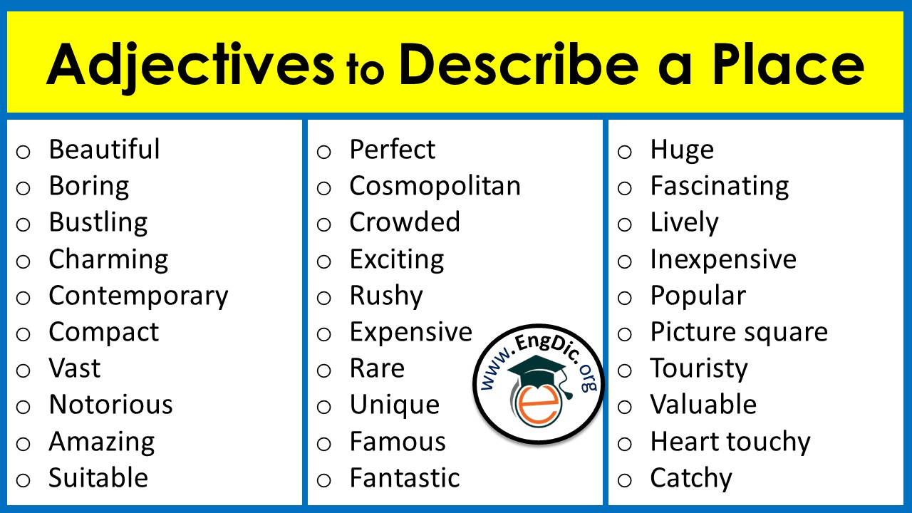 list of adjectives to describe a place