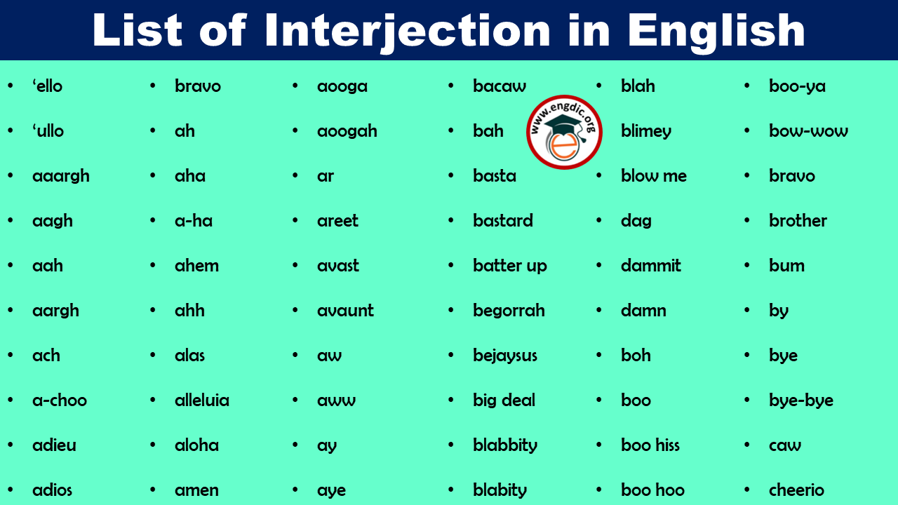 list of interjection in english