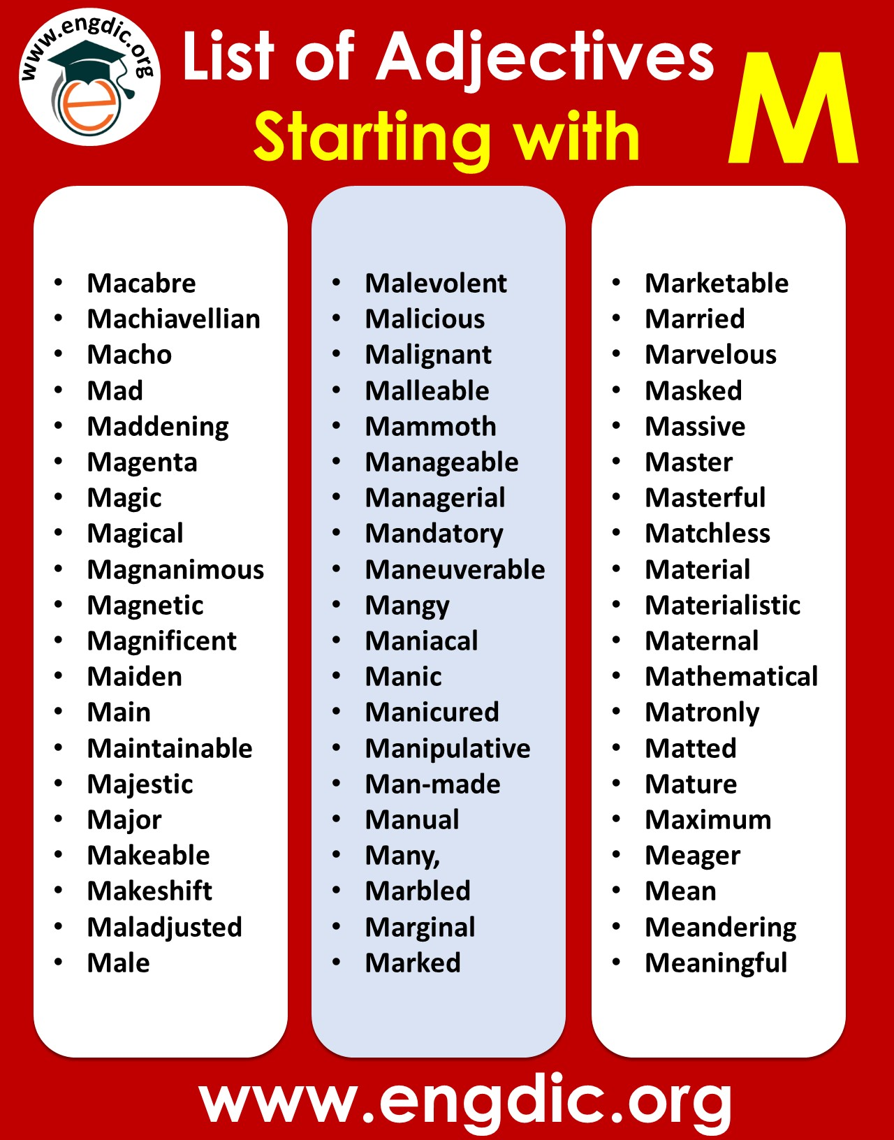 positive adjectives starting with m