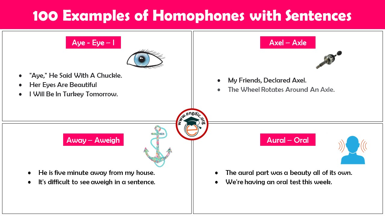 Homophones with Examples and Sentences