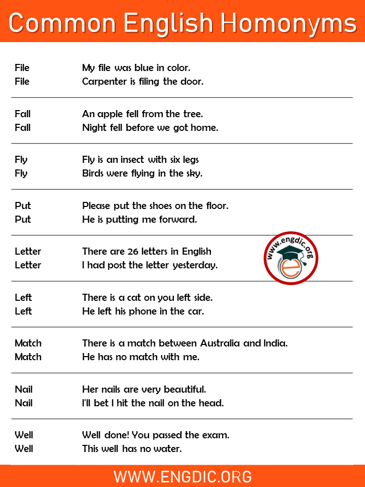 homonyms examples with sentences pdf