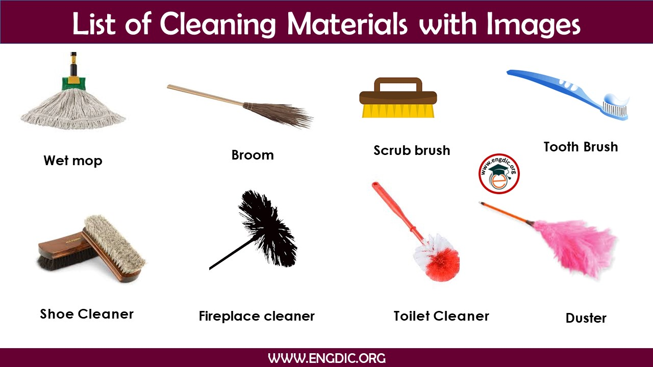 Cleaning materials list with pictures