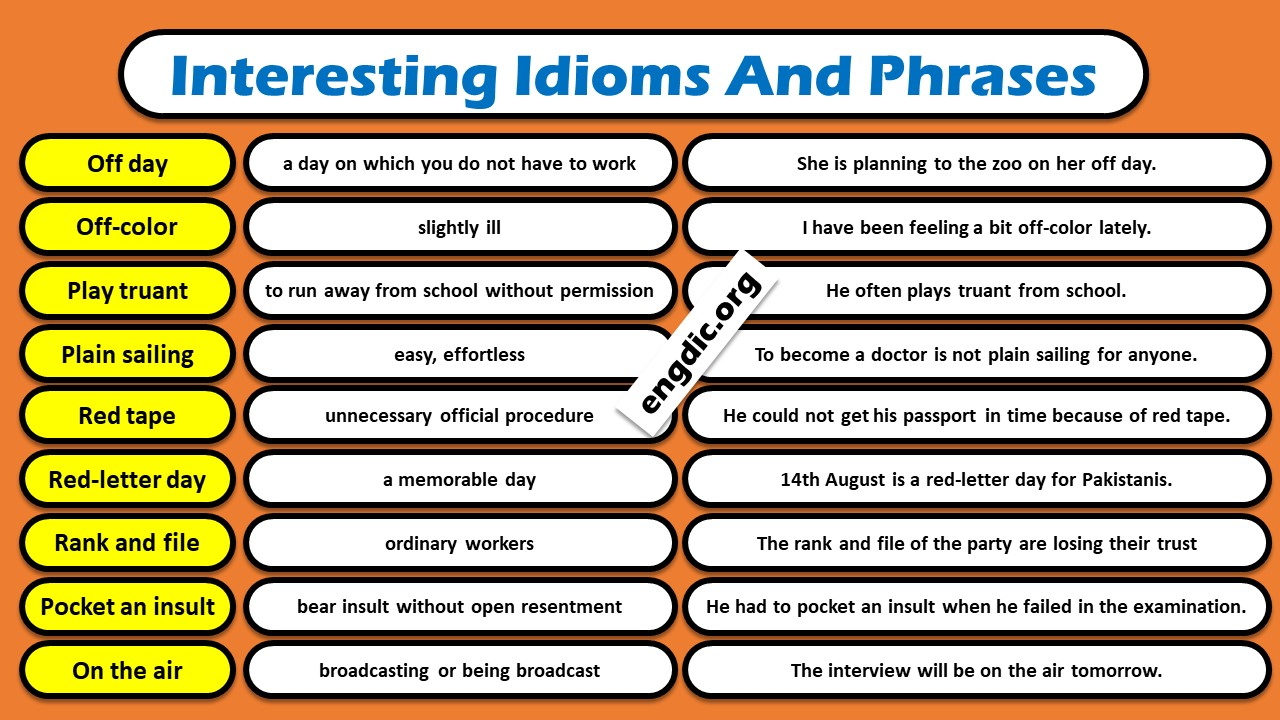 Interesting idioms and phrases in english