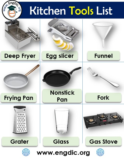 Kitchen Tools names list with pictures