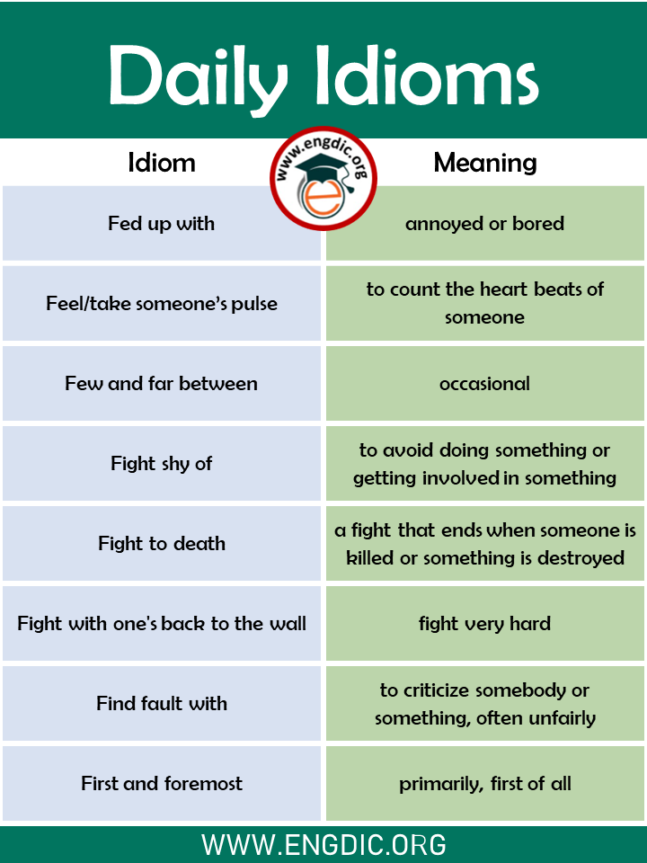 idioms used in daily life