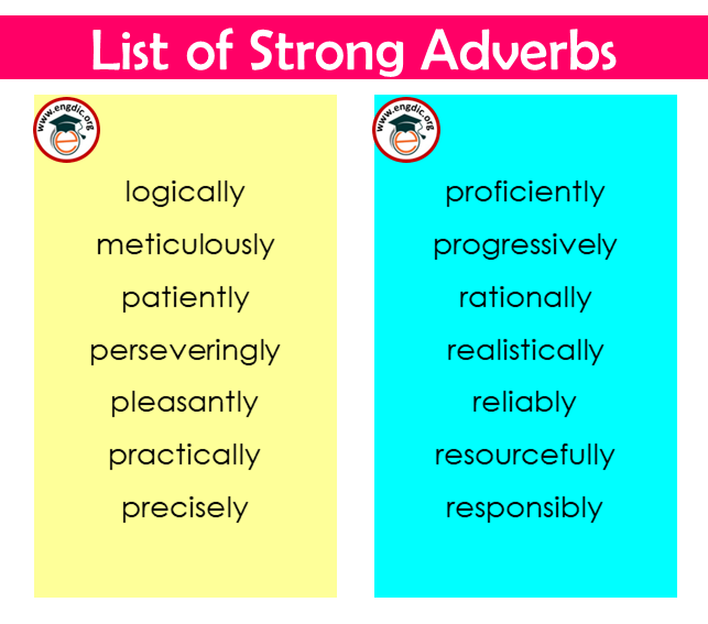 a strong adverbs list