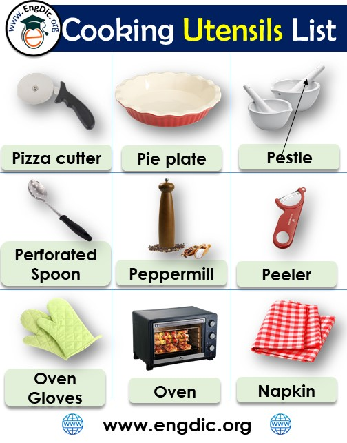cooking utensils list with picture