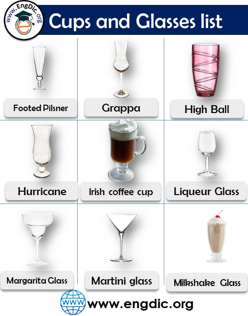 cups and glasses list with pdf