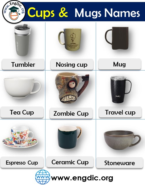 cups and mugs names list