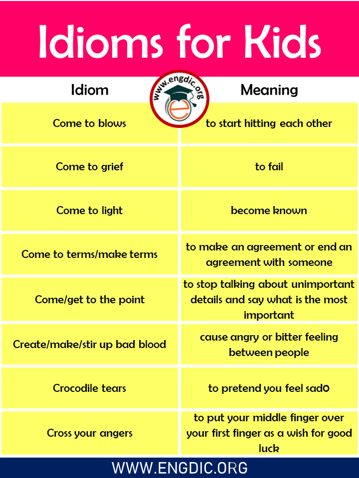 List of Idioms for Kids