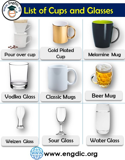 list of cups and glasses pdf
