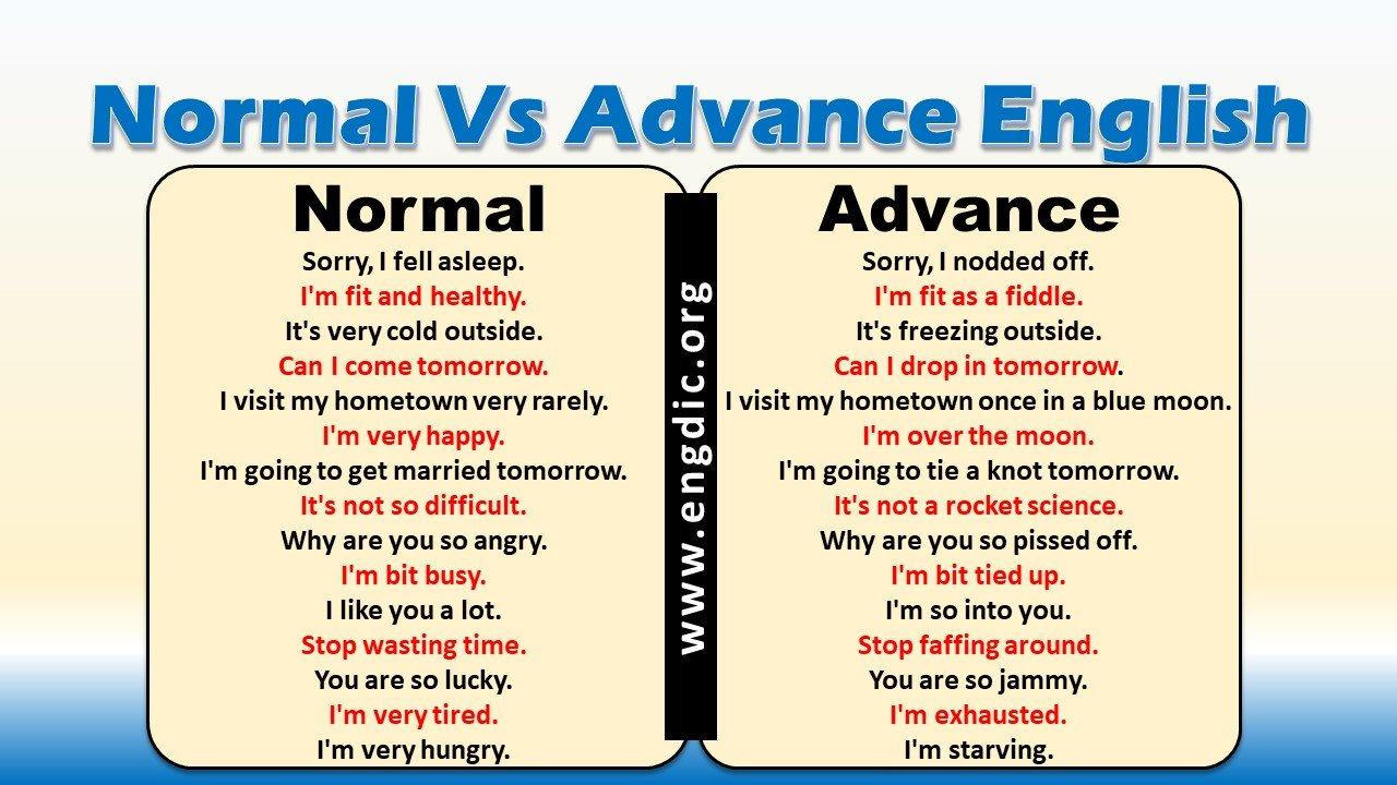 Normal English Vs Advanced English