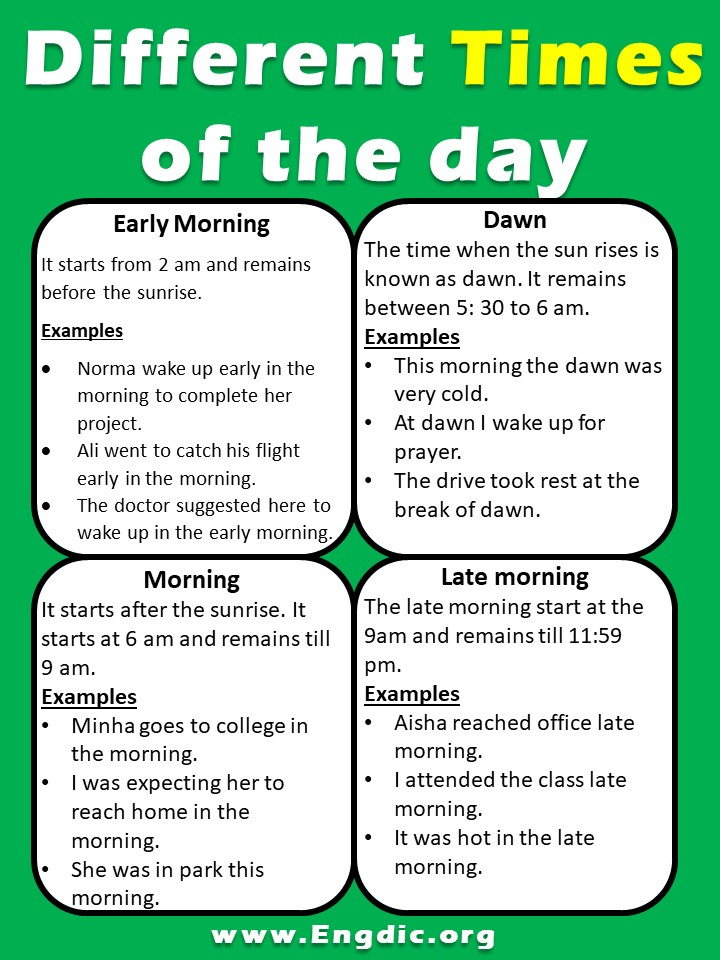 Times of the Day – Different Parts of the Day image 2