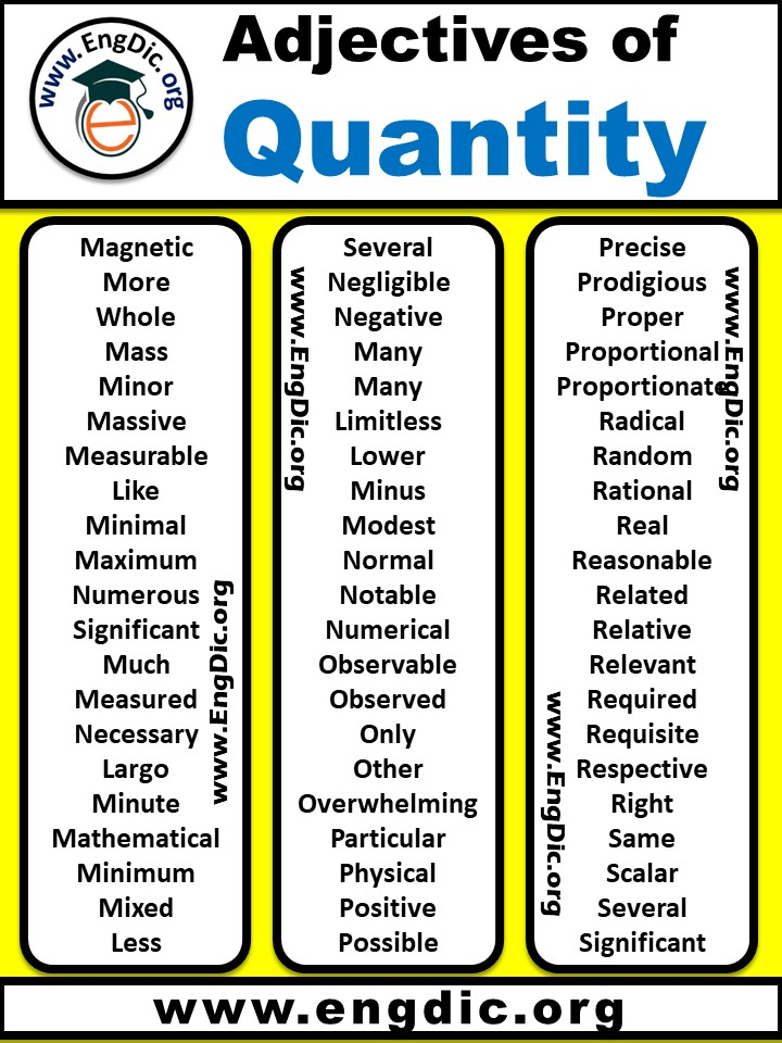 list of adjectives of quantity