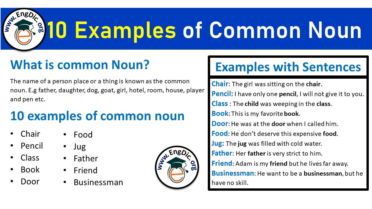 10 examples of common nouns