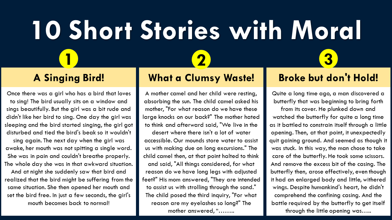 10 lines Short Stories with moral