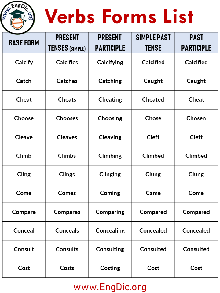5 forms of verbs