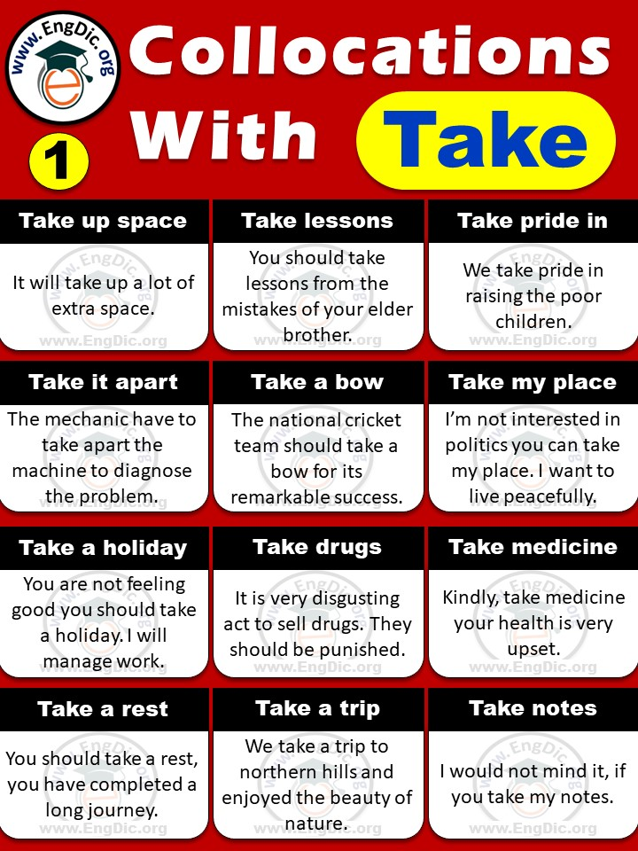 List of collocations with take