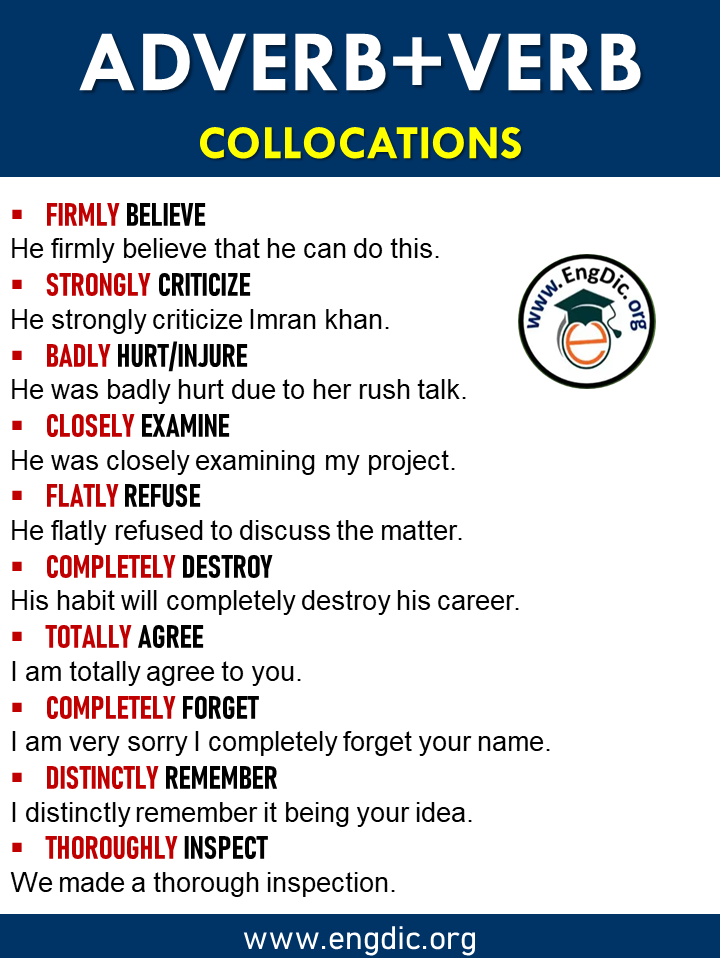 list of Verb adverb collocation