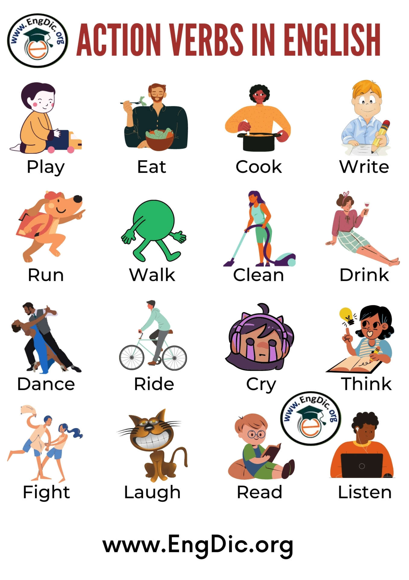 list of action verbs for kids