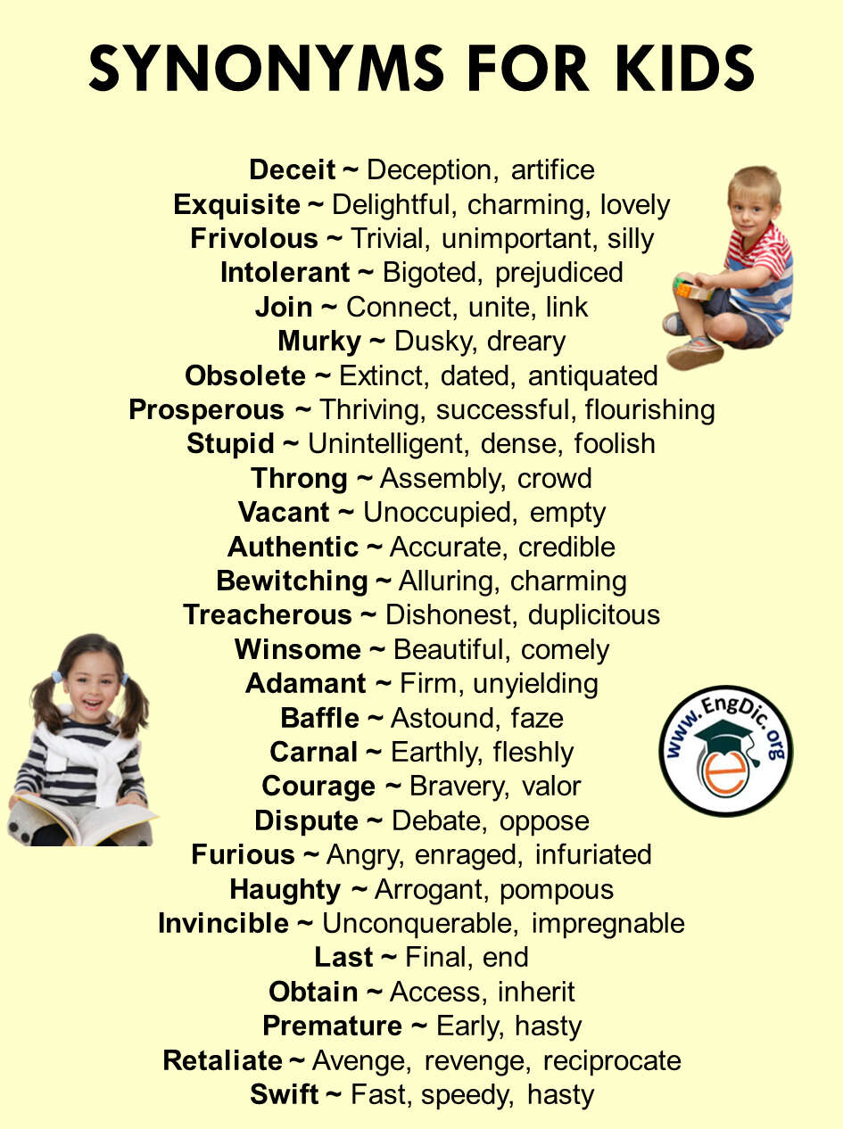 list of synonyms for kids