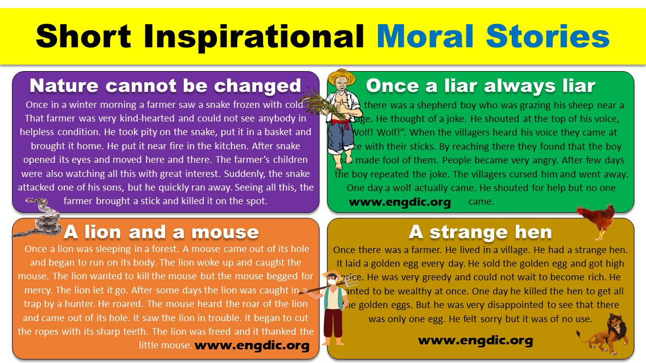 short inspirational moral stories for kids in english