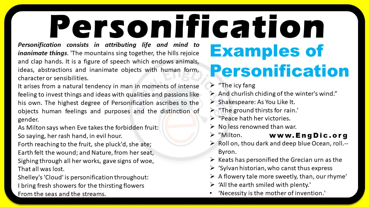 what is personification personification and examples of personification pdf